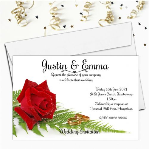 10 Personalised Red Rose Wedding Invitations day & Evening N4